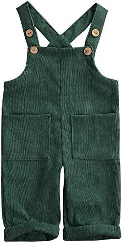 MoccyBabeLee Kids Baby Girl Boy Latzhose Overalls Ärmellose verstellbare einfarbige Jumpsuit-Hose Winterhose Kleidung (Green,4-5 Jahre)