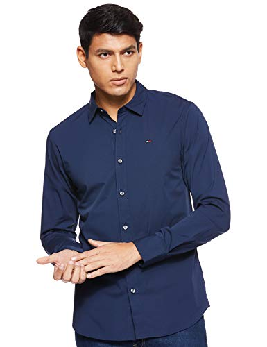 Tommy Jeans Original Stretch Camicia Slim Fit, Blu (Black Iris 002), L Uomo