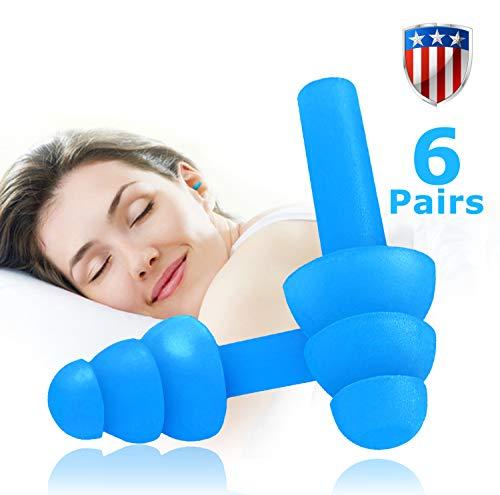 Oordopjes 6 paar ruisonderdrukkende herbruikbare oordopjes voor slapen en zwemmen; zacht en comfortabel voor het opnemen van gehoorbescherming ruisonderdrukking met draagtas (Jelly Blue)