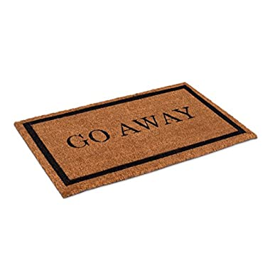 BirdRock Home Go Away Coir Doormat | 18 x 30 Inch | Standard Welcome Mat with Black Border and Natural Fade | Vinyl Backed | Outdoor