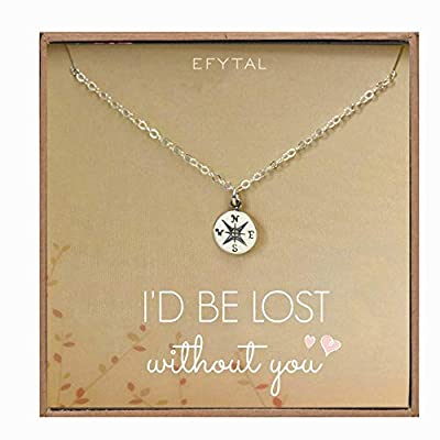 EFYTAL Necklace Gift for Girlfriend/Wife, Sterling Silver Cute I Love You Compass Heart Jewelry For Her, I'd Be Lost Without You Valentines Day, Romantic Anniversary Birthday Gift Ideas