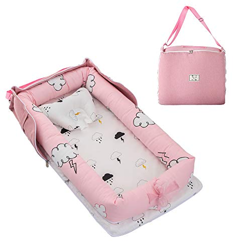 Brandream Portable Crib for Travel, Pink Clouds Newborn Nest Bed Lounger Baby Bassinets for Nest/Cot Sleeping, Cotton Breathable & Hypoallergenic, 0-24 Months