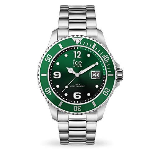 ICE-WATCH Ice Steel Green Silver - Reloj Verde para Hombre con Correa de Metal, 016544 (Medium)