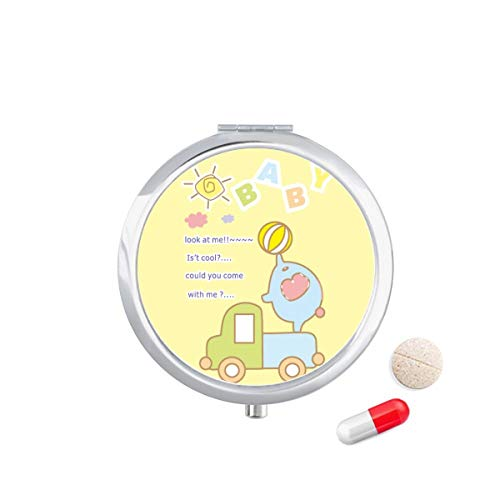 DIYthinker Cartoon Baby Bal Olifant Vrachtwagen Dier Reizen Pocket Pill Case Medicine Drug Opbergdoos Dispenser Spiegel Gift