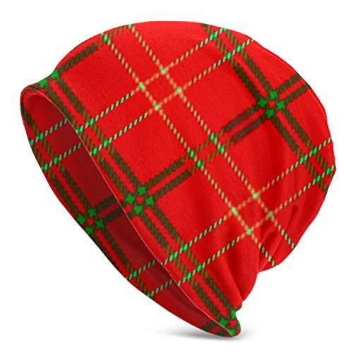 AEMAPE Gorro de punto para hombre y mujer, diseño de cuadros escoceses, color rojo, verde