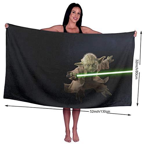 Yoda Star Wars Badetuch, riesiges Handtuch, Strandtuch, Mikrofaser, weich, schnelltrocknend, leicht, für Bad/Strand/Schwimmen/Fitnessstudio, 139 x 81 cm