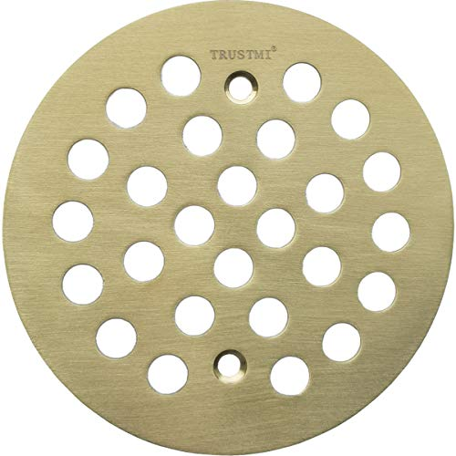 TRUSTMI 4 1/4-inch Screw-in Style Shower Drain Grate Replacement Cover with Screws,Brushed Gold