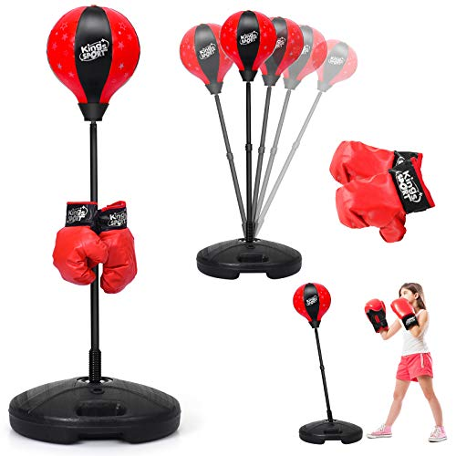 GOPLUS Punchingball, Höhenverstellbarer Standbox 81-123,5 cm, Punch Boxen Set inkl. Boxhandschuhe und Handpumpe, Basis zum Befüllen mit Wasser oder Sand, Boxsack für Kinder über 3 Jahren