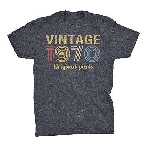 50th Birthday Gift T-Shirt - Retro Birthday - Vintage 1970 Original Parts - 001-Dk. Heather-3X