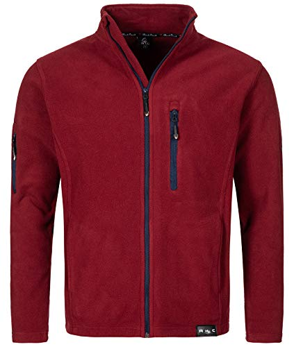 Rock Creek Herren Fleece Jacke Outdoor Wanderjacke Pullover Full Zip Hoodie Herrenjacke Fleecejacke Winterjacke Strickjacke Strickfleecejacke H-197 Weinrot M