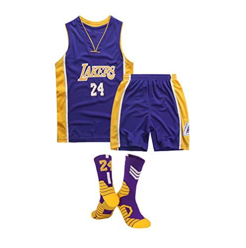 Kinder-Basketballtrikot, Los Angeles Lakers Nr. 24 Kobe Bryant-Basketballtrikot, Mesh-Trikot mit V-Ausschnitt, Sportweste/Shorts und Socken × 1, XS-XL-Purple-L