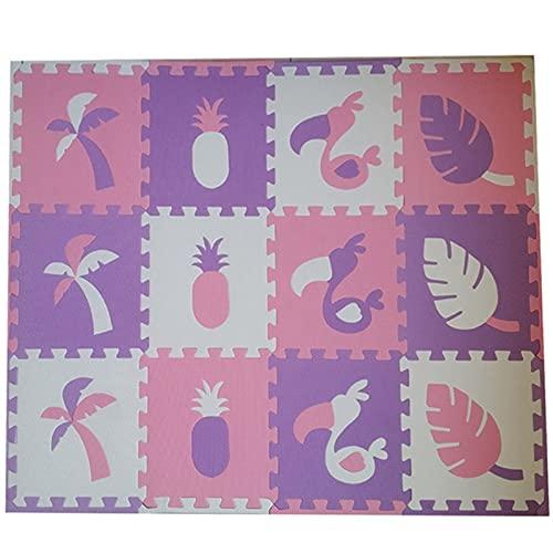 Shop-PEJ Suave 12 unids EVA Espuma Puzzle Play Mat/Kids Frugs Alfombra Alfombra Conelada para niños Azulejos Decoración Hogar (Color : Purple Pink White, Size : 12pcs)