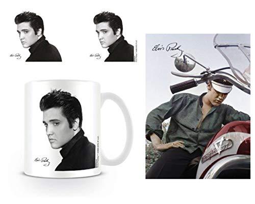 1art1 Elvis Presley, Love Me Tender Foto-Tasse Kaffeetasse (9x8 cm) Inklusive 1 Elvis Presley Postkarte (15x10 cm)