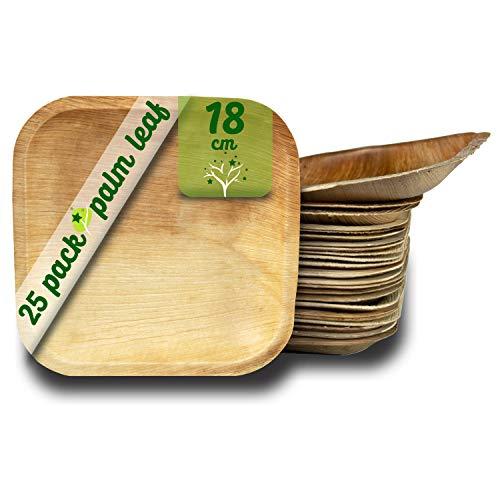 GoBeTree Platos Desechables de Hoja de Palma 25 Platos Cuadrados de 18 cm. Vajilla Rustica de Madera para barbacoas y Fiesta de cumpleaños.