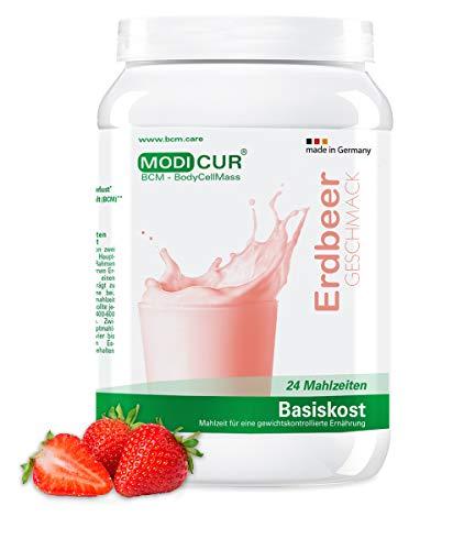 BCM Basiskost Erdbeer - Diät Shake - Das Original - 24 Portionen (500 g) - Modicur (Eiweiss – Protein - Low Carb Formula Diät zum Abnehmen – Mahlzeitenersatz)