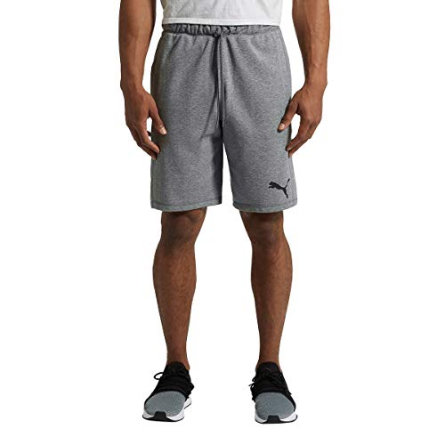 Price comparison product image PUMA Mens Logo French Terry Short Elastic Stretch Waistband Short (XL,  Medium Grey Heather)