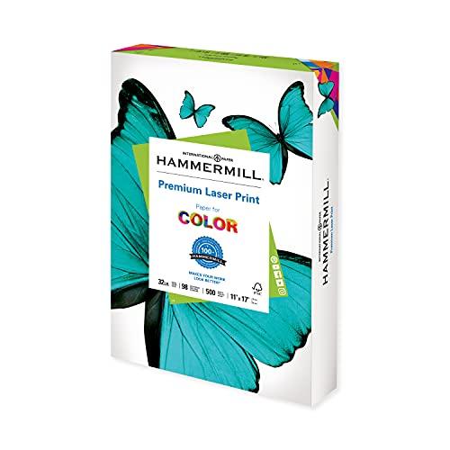 Hammermill Printer Paper, Premium Laser Print 32 lb, 11 x 17-1 Ream (500 Sheets) - 98 Bright, Made in the USA, 104653