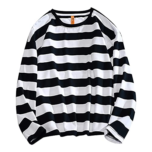 Unisex Fall Oversized Sweatshirt Fashion Stripe Print Pullover Casual Long Sleeve Crewneck Top Outdoor Workout Blouse