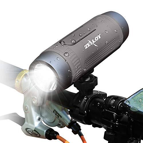 Altavoz Bluetooth 10W,Altavoz de Bicicleta Bluetooth 5.0, Impermerable,24H de Reproducción,Altavoz Portátil Bluetooth con Micrófono, Inalámbrico Altavoces,AUX/TF,Luz de Flash LED,4000mAh Power Bank