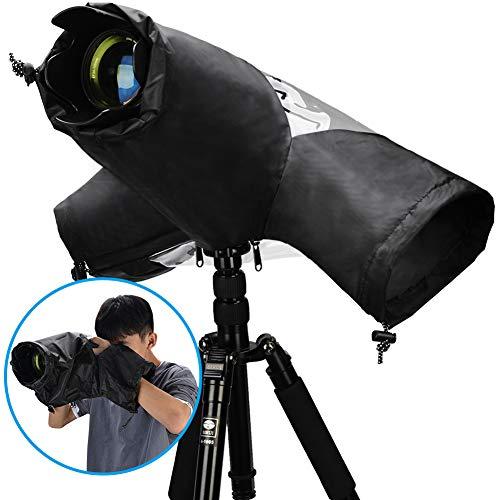 CADeN Protector Antilluvia para Cámaras - Funda Impermeable para Proteger cámaras réflex de la Lluvia para Canon Nikon Sony (H7-Negro)