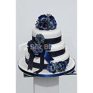 Silk Blooms Ltd Scottish Real Touch Blue Anemone Poppy Wedding Cake Topper