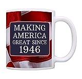 75th Birthday Gifts Making America Great Since 1946 Funny 75th Birthday Party Supplies 75th Birthday Gag Gift Coffee Mug Tea Cup USA Flag