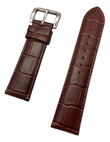 22mm Brown Genuine Leather Watch Band | Square Crocodile Alligator Grain, Lightly Padded Replacement Wrist Strap that brings New Life to Any Watch (Mens Standard Length)