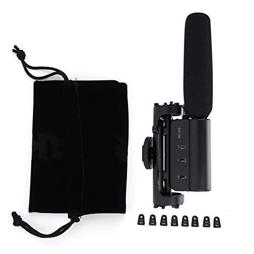 Tubo de aleación de aluminio Micrófono de condensador de 8.8 * 3.3in, para grabación de video, para Canon 550D 7D 600D 60D 5D con función de indicación de batería baja
