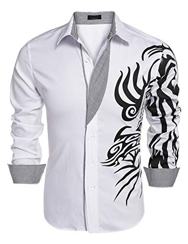 COOFANDY Mens Print Button Down Dress Shirt Fashion Long Sleeve Casual Shirts,White 1,3X-Large