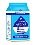 VitaCup Genius Keto Ground Coffee with MCT Oil, Increases Energy & Focus, 11 oz Bag, Medium Roast Blend With B Vitamins & Turmeric, Bold & Smooth Coffee Grounds for Drip Coffee Brewers, French Press