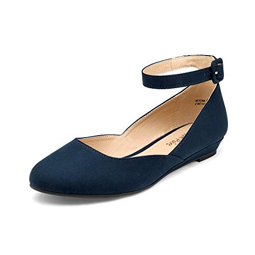 DREAM PAIRS Women s Revona Navy Suede Low Wedge Ankle Strap Flats Shoes - 8 B(M) US
