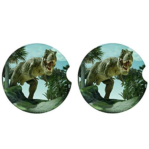 Porta-copos de carro de 6,5 cm de dinossauro, pacote com 2 porta-copos de cerâmica para carro, acessórios de carro com entalhe para facilitar a remoção