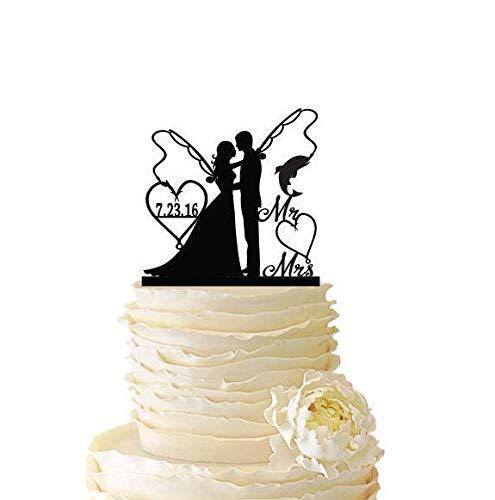 DKISEE Mr Mrs con novia y novio, bastones de pesca con fecha o iniciales, boda, aniversario, decoración de pastel de pesca, decoración de acrílico novedad 15,2 cm, CCS387
