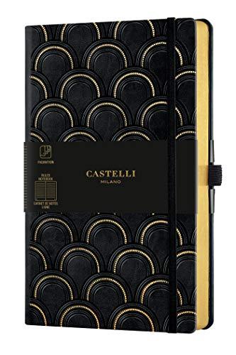 Castelli Milano Copper & Gold Art Deco Gold - Cuaderno de 13 x 21 cm, páginas a rayas, tapa dura, color negro, 240 páginas