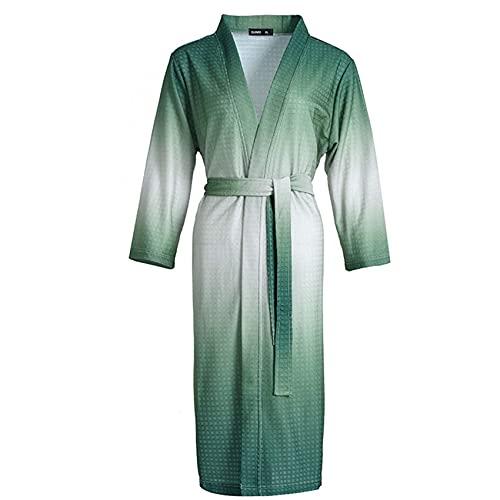 FHKBK Bata de gofre Ligera con Efecto Tie-Dye, Bata de SPA de Lujo Fina para Mujer, Bata de Ducha Suave y Absorbente con Cuello en V, Ropa de salón para Mujer, Verde Degradado, XL