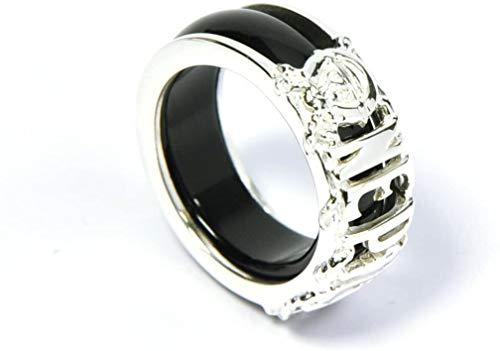 CoolChange Zweiteiliger One P. Ring aus 925 Sterlingsilber und Achat in Schwarz oder Rot (Schwarz)