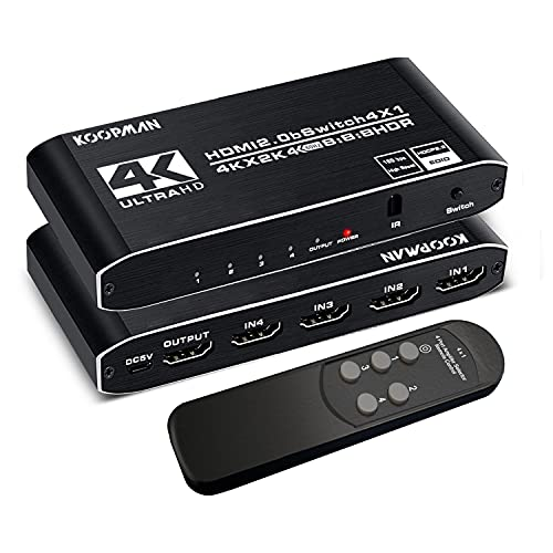 4k HDR HDMI Switch, Koopman 4 Ports HDMI 2.0 Switcher Selector with IR...