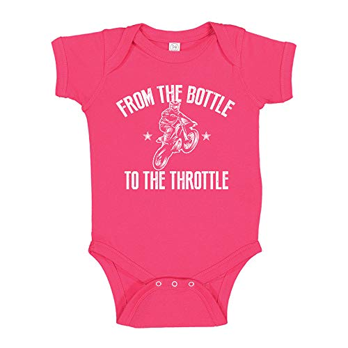 Motocross from The Bottle to The Throttle Dirt Bike Baby Bodysuit Infant One Piece 6 mo Cyber Pink