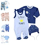 Baby Sweets 3er Baby-Set mit Strampler, Langarm-Shirt & Mütze für Jungen in Blau/Baby-Erstausstattung Strampler Set im Little Prince-Motiv für Neugeborene & Kleinkinder in der Größe: 9 Monate (74)