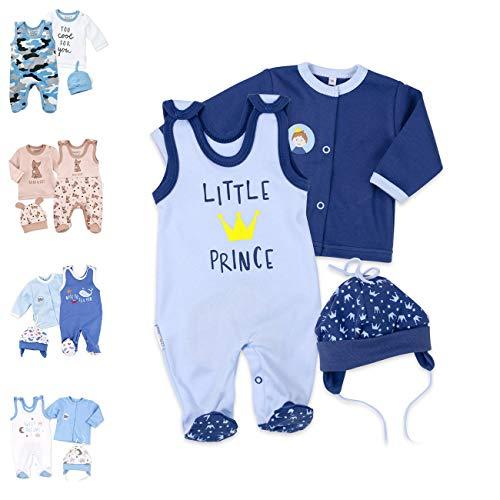 Baby Sweets 3er Baby-Set mit Strampler, Langarm-Shirt & Mütze für Jungen in Blau/Baby-Erstausstattung Strampler Set im Little Prince-Motiv für Neugeborene & Kleinkinder in der Größe: 3 Monate (62)
