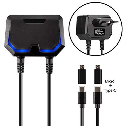 Adapter-Ladegerät für Nintendo Switch / Switch Lite / Xbox-One / PS4-Konsolen und -Controller, 2 Typ C-Netzkabel-Ladegeräte, mit USB-Anschluss und 2 Micro-USB-Adaptern
