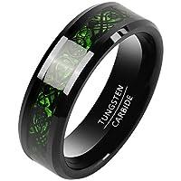 [Jogori] タングステン 指輪 リング メンズ 炭素繊維 ドラゴン 龍 平打ち シンプル 幅:8mm グリーン&ブラック 11号