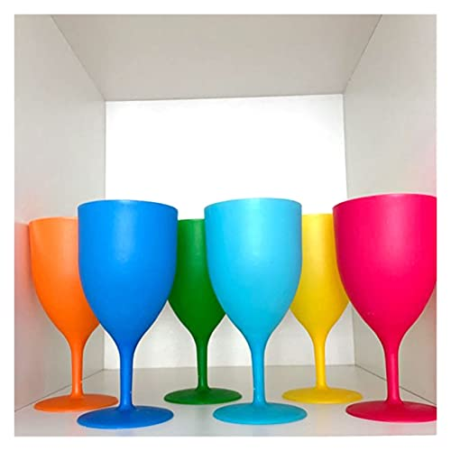 GIS 6 unids/Conjunto de Copas de Vino de plástico heladas Coctel de cóctel Champagne Cubilet Picnic Bar Party Gafas Bebidas Colorful Frosted Goblet Set (Color : 6pcs)