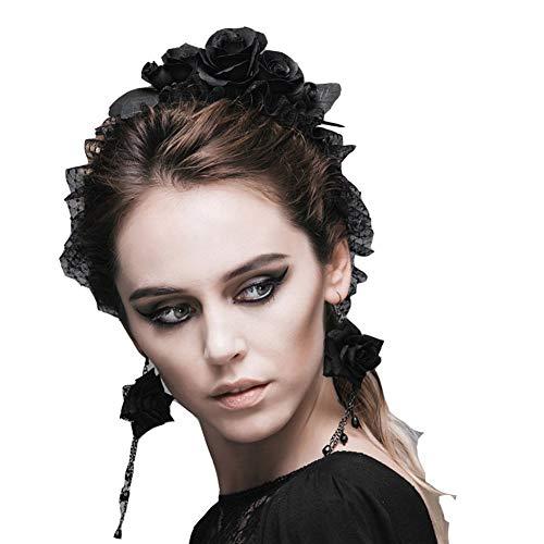 HYY-YY haarband, Gothic, eenkleurig, met kant, roze