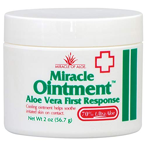 Miracle Ointment | Aloe Vera First Aid Cream with 70% UltraAloe Pure Aloe Vera Gel | 2 ounce jar