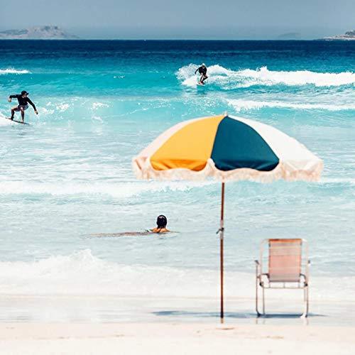 HH- Sombrillas Sombrilla de Playa para Jardín, Patio, de 6 Pies / 1,8 M Sombrilla de Exterior con Borla, Protector Solar UV50 +