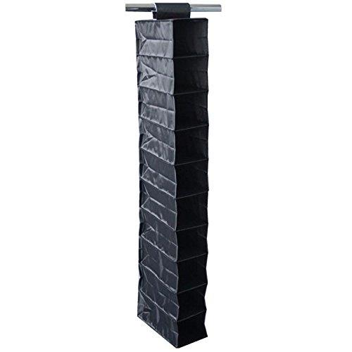 M-Home   Étagère à Chaussures / 10 niveaux (20 Paires)   Polyester   Noir   15 x 30 x 120 cm   EVE740-01