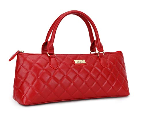 La Soir'ee by SACHI Faux Leather Insulated Wine Purse Clutch Tote Handbag | Stylish Women's Wine Carrier Cooler Bag Red Quilted