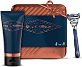 Gillette King C. Kit Regalo Da Uomo Get Sharp: Rasoio Per Il Collo - 1 Lama + Gel Trasparente Per La Rasatura 150 ml + Scatola Di Latta, Regalo
