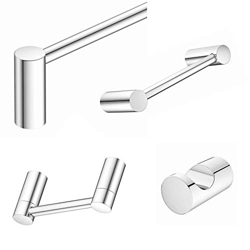 "Aviano Collection - Elegant Design 4-Piece Bathroom Hardware Accessory Set Includes 24"" Towel Bar, Hand Towel Bar, Toilet Paper Holder and Robe Hook (Chrome, 4 - Piece Bath Set)"